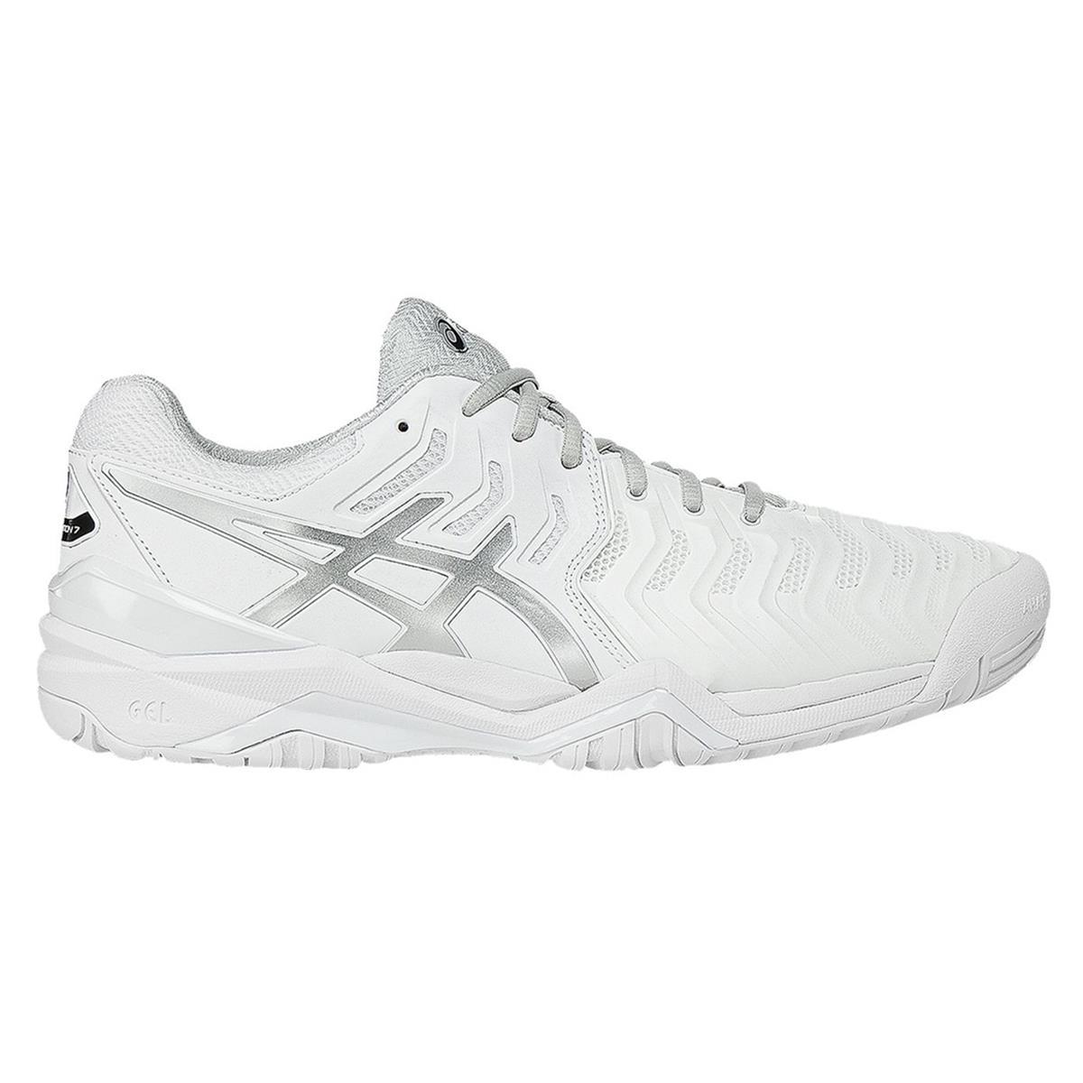 Asics Gel Resolution 7 Mens Tennis Shoes (White-Silver) | Direct Tennis