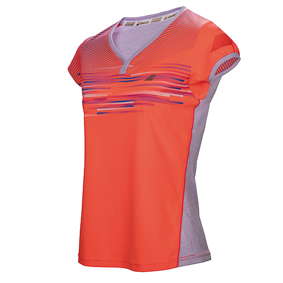 Babolat Performance Cap Sleeve Girls Top (Fluo Red)