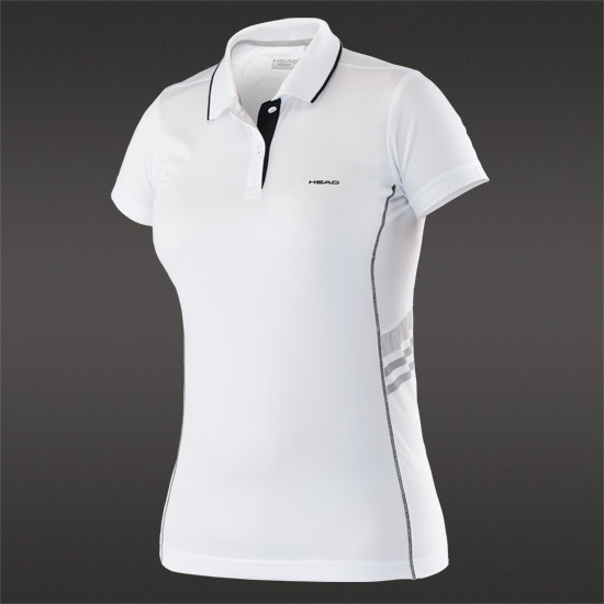 Head Club G Girls Technical Polo Shirt (White-Black)