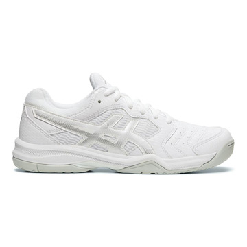Asics Gel Dedicate 6 Womens Tennis Shoes (White-Silver)