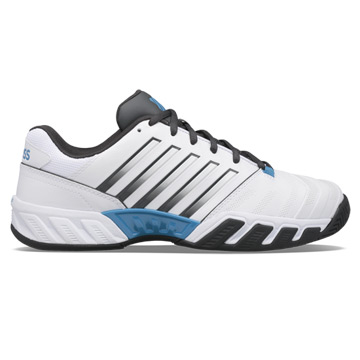 K-Swiss Bigshot Light 4 Mens Tennis Shoes (White-Dark Shadow-Swedish Blue)