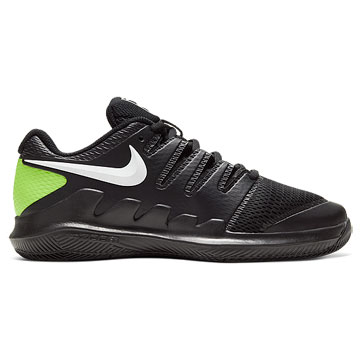 Nike Court Vapor X Junior Tennis Shoes (Black-White-Volt)